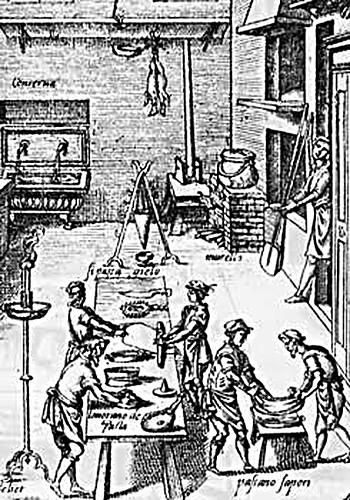 Ilustração de Bartolomeo Scappi de uma Cozinha Renascentista (Opera)