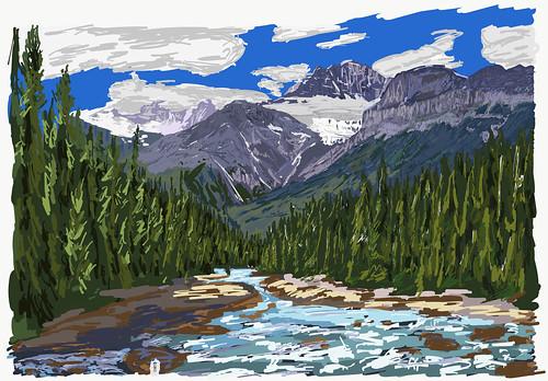 My Drawings - Banff National Park Mistaya River