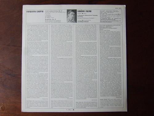 Backside Chopin - Piano Concerto No.2 F-Minor op.21 & 'Krakowiak' op.14 - Sandor Falvai Piano, Budapest Phil. Orch., Andras Korodi, Hungaroton SLPX 11815