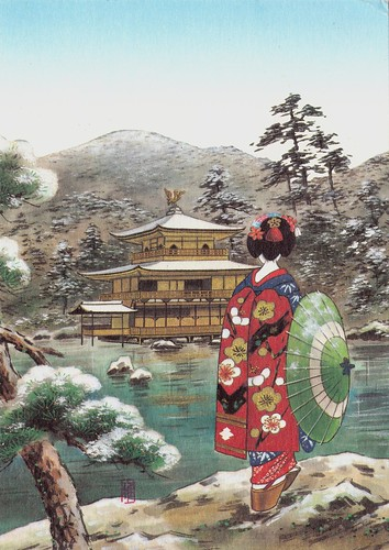 Kyo-maiko girl and snow view of Kinkakuji Temple Kyoto by Masami Nakamura