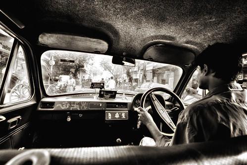 Taxi ride around Kolkata, India