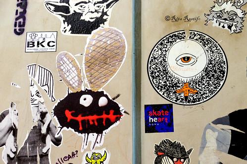 Roma. Trastevere. Street art-sticker art by BKC, Cheyoda-booyakah22, Cara Carmina, Narcossist, Tzing Tao and...