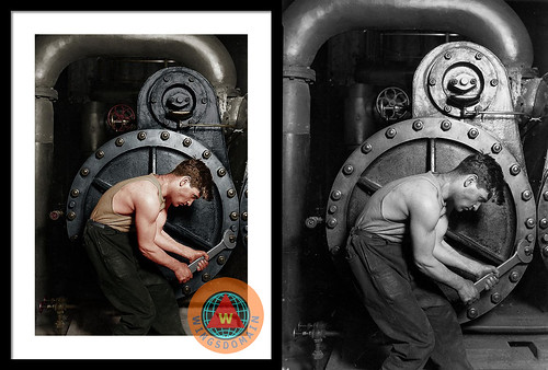 Power House Mechanic Working On Steam Pump By Lewis Hine Colorized Framed Print