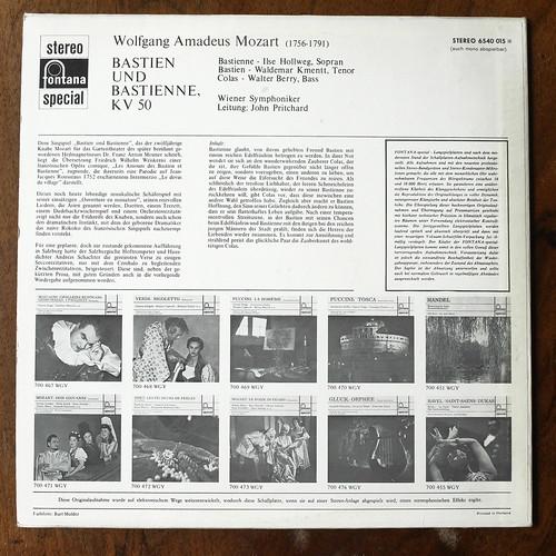 Backside Mozart - Bastien & Bastienne KV50 - iLse Hollweg Soprano, Waldemar Kmentt Tenor, Walter Berry Bass, Wiener Symph., John Pritchard, Fontana Special 6540 015