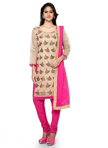 Cream And Pink Cotton Printed Straight Cut Suit