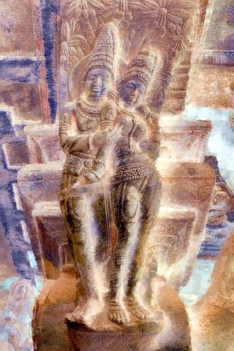 India - Karnataka - Badami Caves - Shiva & Parvati - 110bb