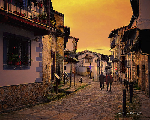 Digital Pastel Drawing of a Street in Candelario by Charles W. Bailey, Jr.