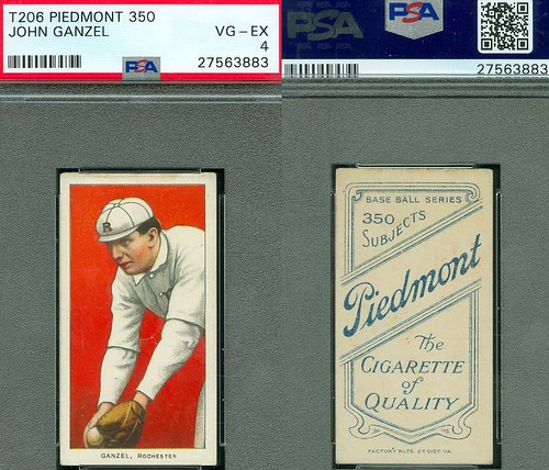 1909-11 / T206 White Border / Minor League - JOHN GANZEL (First Base / Manager) Rochester Bronchos / Eastern League (PSA Certified) (1910 / Piedmont 350 / 25 Back) Tobacco / Cigarette Baseball Card (#179)