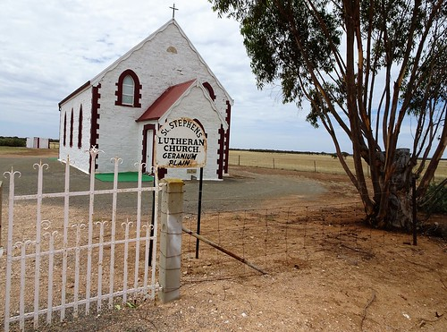 Geranium Plains.  Gateway entrance to the Lutheran Church built in 1900. St Pauls Lutheran down the road was also built in 1900 but is now demolished. Church used as a state  school from 1900 to 1945.