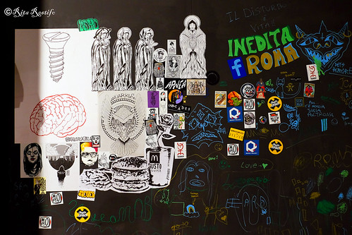 Roma. Sticker-poster art by Wuarky, Disgusto, C_ska, Valda, Tacim_collective, Respect project, Cross the streets, Moro, Stelleconfuse, Bloodpurple, Philobiblongallery, Diamond, Lus57, Rita Restifo, Zotone, Detshorore, Apnea, Koi at Decades art show