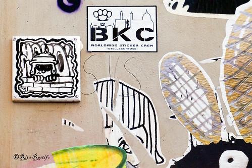 Roma. Trastevere. Street art by Zoto, Narcossist, BKC