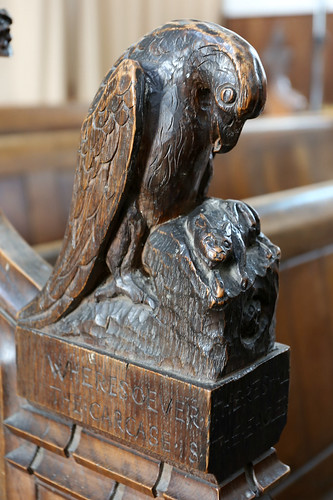 Psalm 104 pew carvings, St Mary the Virgin, Wortham, Suffolk