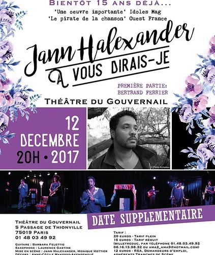 #concert #live date supplémentaire Jann Halexander 12/12/2017 Théâtre du Gouvernail #chanson #pop #JannHalexander #culture #Paris #europe #afrique #piano #Gabon #bertrandferrier #laurencegastine #BarbaraFelettig #lalouline