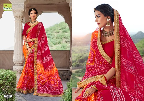 SAYMORE PRESENT CHUNRIYA VOL 4 EXCLUSIVE TRADITIONAL BANDHANI SAREE COLLECTION WHOLESALE RATE