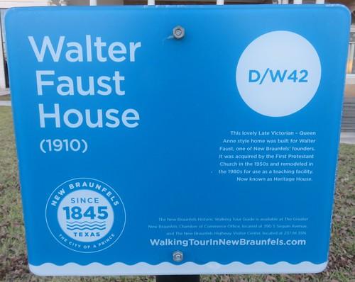 Walter Faust House Marker (New Braunfels, Texas)