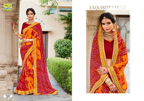 SAYMORE CHUNRIYA VOL 4 GEORGETE BANDHANI SAREE WITH HEAVY BORDER AT TIRUPATI WHOLESALE
