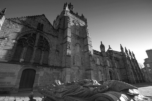 still waiting to get back inside the chapel, the Bishop and his tomb, 1514~1931, fine art black & white. University of Aberdeen, Aberdeen, Scotland