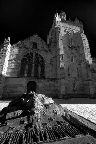 the bishop aims his feet at the chapel door, wanting in, Bishop Elphinstone and Kings College Chapel, University of Aberdeen, Aberdeen, Scotland. fine art black sky black & white