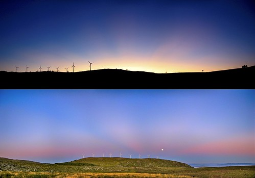 Volcanic Sunset & Moonrise