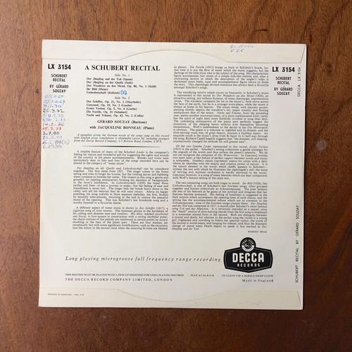 Backside A Schubert Recital - Gerard Souzay Bariton, Jacqueline Bonneau Piano, Decca LX 3154, 10 inch