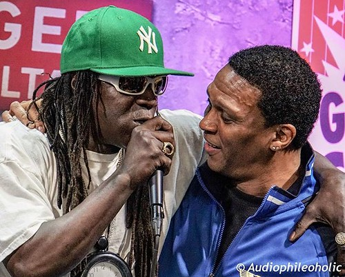 Flavor Flav embracing Keith Shocklee or Wizard K-Jee a hip hop producer from The Bomb Squad and early member of Public Enemy. His resume or musical credits are diverse from Poison to BBD to Paula Abdul. @publicenemyftp . . . . . #livemusic #stagephotograp