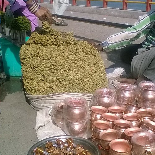 Ha! That's a first - dudes selling giant #pot stashes on the banks of the #ganga