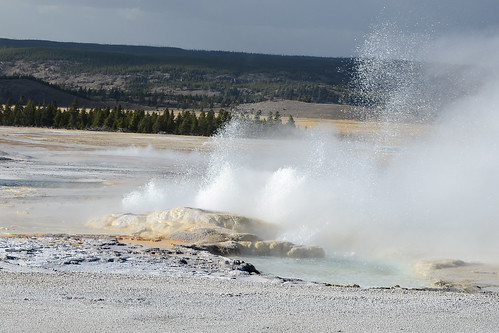 A view of eruptions of Clepsydra and Spasm Geysers from a distance of 150 yards (approx.) on Fountain Paint Pot trail, Yellowstone National Park, Wyoming, USA- 3