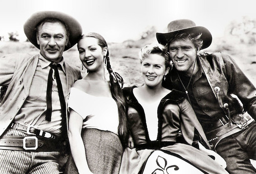 Gary Cooper, Sara Montiel, Denise Darcel and Burt Lancaster in Vera Cruz (1954)