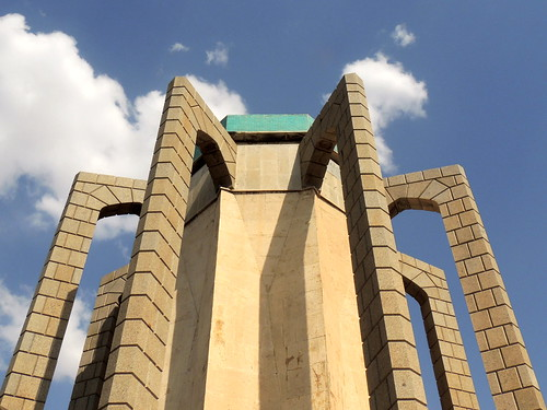 Architecture of mausoleum of Baba Taher, medieval poet and mystic of Iran in Hamedan