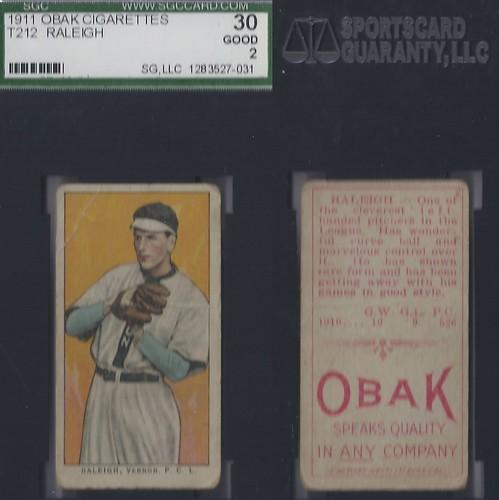 1911 T212-3 Obak Cigarettes Baseball Card -