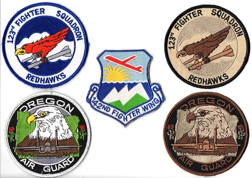 142nd Fighter Wing patch set - Portland ANG Base, Oregon