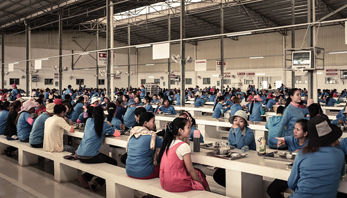 Garment workers having lunch at one factory in Phnom Penh