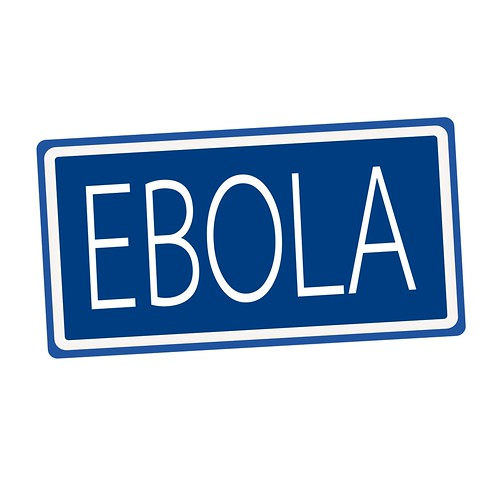 EBOLA white stamp text on blue