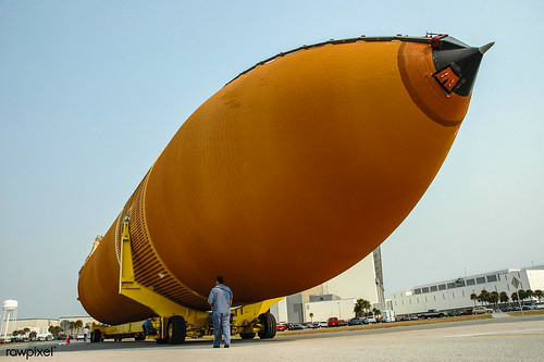 The External Tank that will be attached to Space Shuttle Atlantis. Original from NASA. Digitally enhanced by rawpixel.