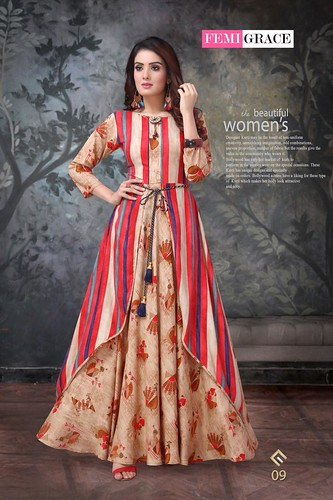 FEMIGRACE VOL 2 BY MADHURAM LONG FANCY PATTERN STYLISH KURTI COLLECTION AT BEST RATE IN SURAT