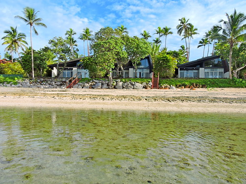 Shangri-La's Fijian Resort - Our Reef Bure right on the water's edge has sweeping views of the reef and Pacific Ocean. It has 1,400 sq ft and included an outdoor shower and private golf buggy. A bure is a traditional Fijian beach bungalow.