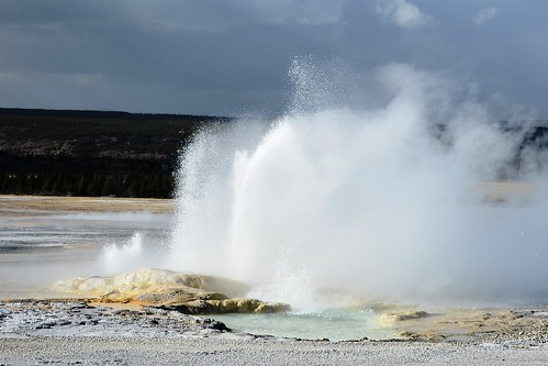 A view of eruptions of Clepsydra and Spasm Geysers from a distance of 150 yards (approx.) on Fountain Paint Pot trail, Yellowstone National Park, Wyoming, USA- 7