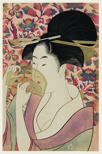 Kushi by Utamaro Kitagawa (1753-1806), meaning Comb, the traditional Japanese Ukyio-e style illustration depicts a Japanese woman portrait holding a comb. Original from Library of Congress. Digitally enhanced by rawpixel.