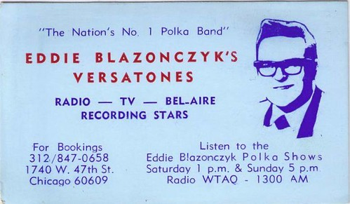 Eddie Blazonczyk's Versatones Business Card