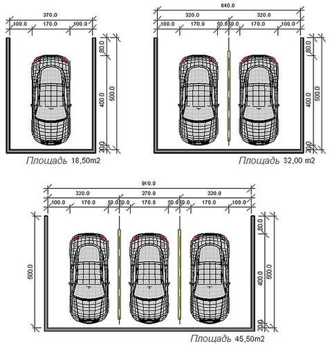 Минимальные рекомендованные размеры парковки (гаража) на 1 (одну), 2 (две) или 3 (три) машины.