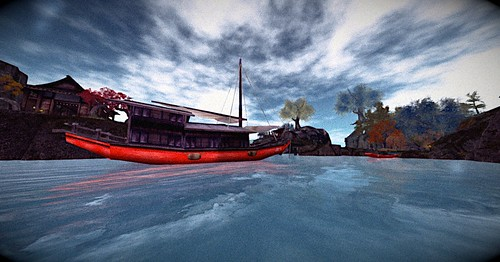 Red Boats under Blue Clouds