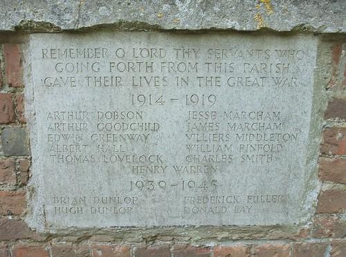 War Memorial, St. Mary's Church, Aldworth, Berkshire