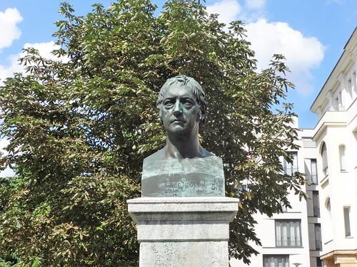 1872 Berlin Georg Wilhelm Friedrich Hegel (1770-1831) Büste von Gustav Bläser Bronze Dorotheenstraße/Hegelplatz in 10117 Dorotheenstadt