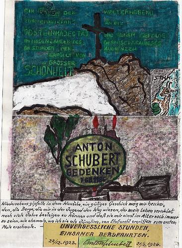 Zeichnung 19860000 Steiermark EMyB -Gedenk Tafel- -Weiße Grotte- Kunst Anton Schubert Literatur Gedenken Denkmal Kleiner Ödstein Südwand