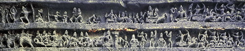 India - Maharashtra - Ellora Caves - Kailasa Temple - Episode From Mahabharata Epos - 14a