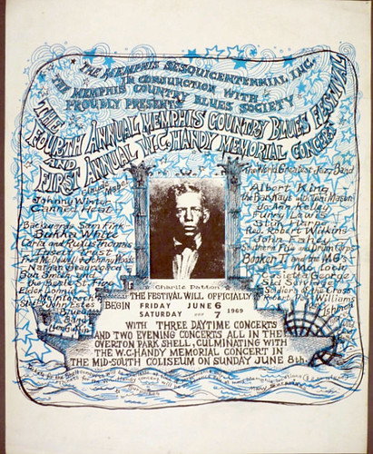 1969 poster for The Fourth Annual Memphis Country Blues Festival and First Annual W.C. Handy Memorial Concert