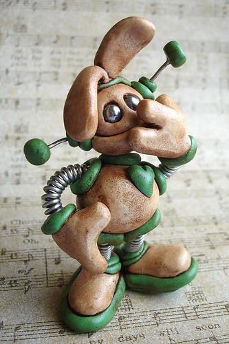 Green Gabbo Easter Grungy Mini Robot Sculpture - Front