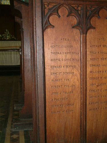 St Augustine - Great War Roll of Honour Panel 3