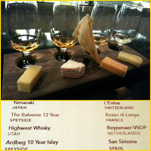 Last night's whisky and cheese flight at Milk The Cow, Lygon Street, Carlton, Melbourne, Victoria, Australia.