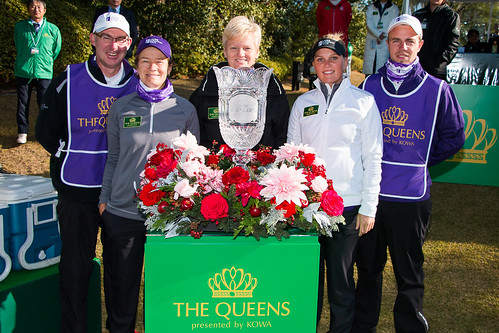Graeme and Catriona Matthew, Captain Johnson, Nanna Madsen and Nicki Hansen pose for a photo ahead of thier match during the Friday foursomes